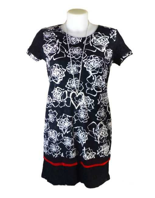 Lulu H French Style Monochrome Floral Dress
