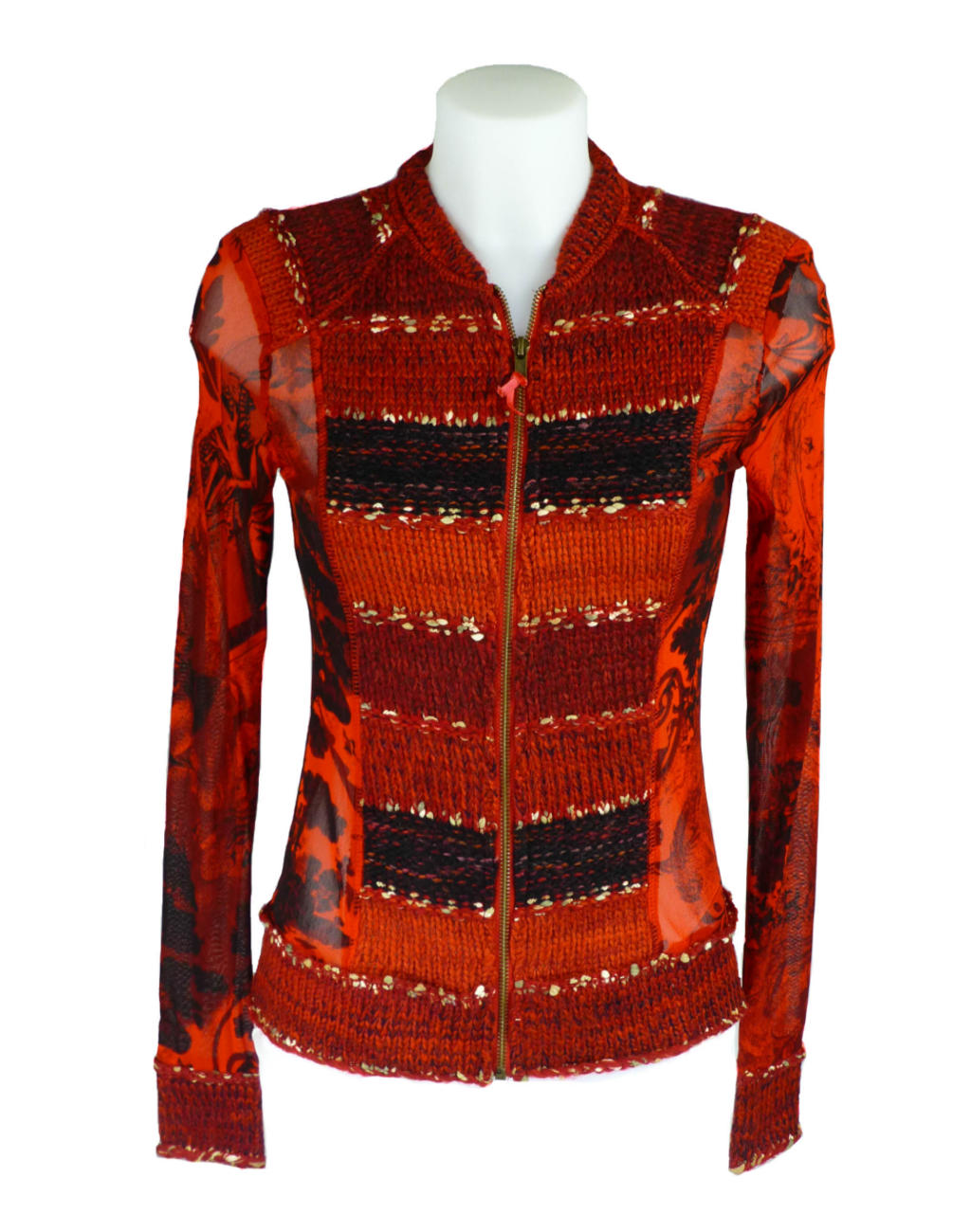Lulu H French Style Red Patterned Summer Top