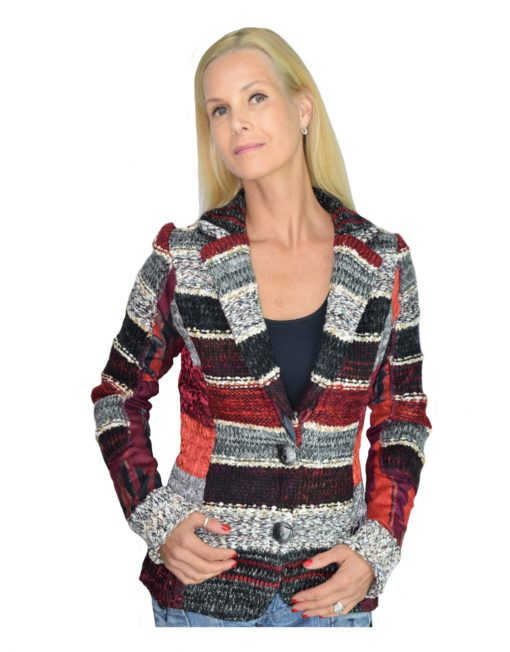 Lulu H French Style Womens Burgundy Jacket