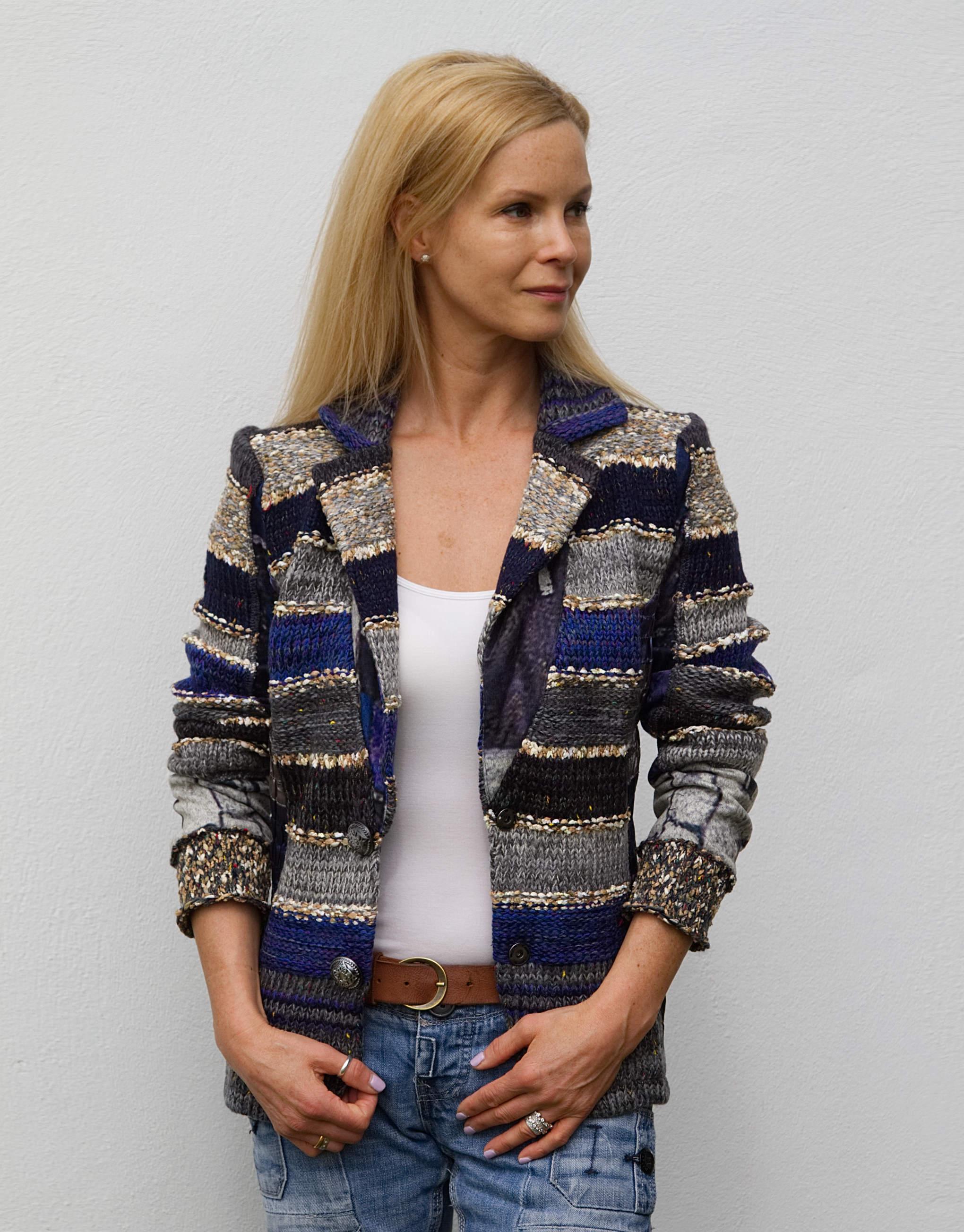 Lulu H French Style Womens Royal Blue Blazer Jacket