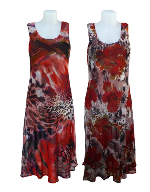 Womens Sasa Reversible Floral Patterned Dress 2 In 1 Dress