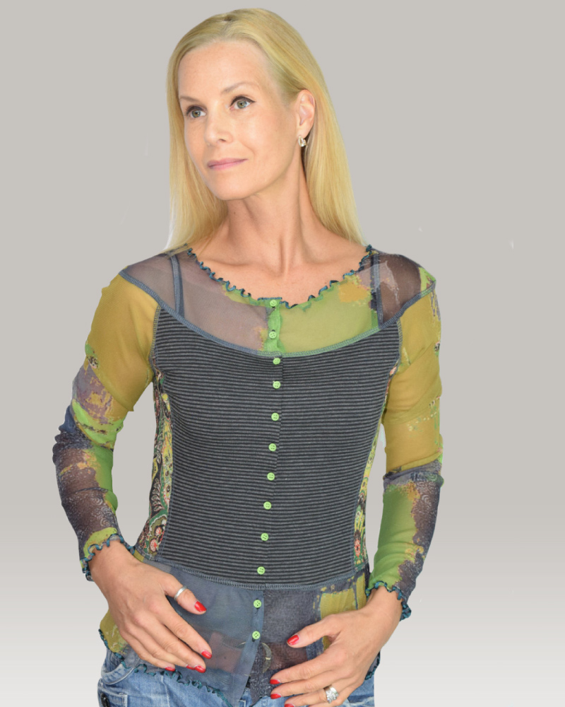 lulu-h dark grey and green french style top