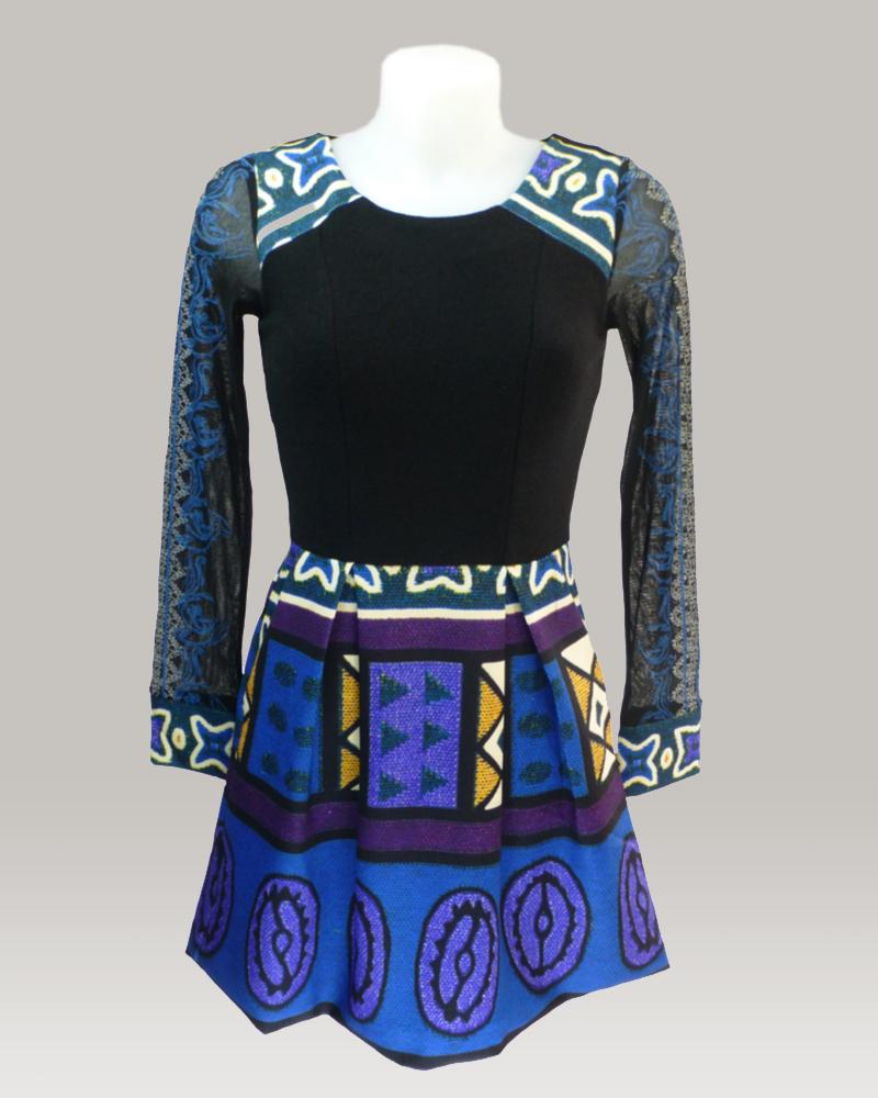 lulu-h net sleeve blue dress