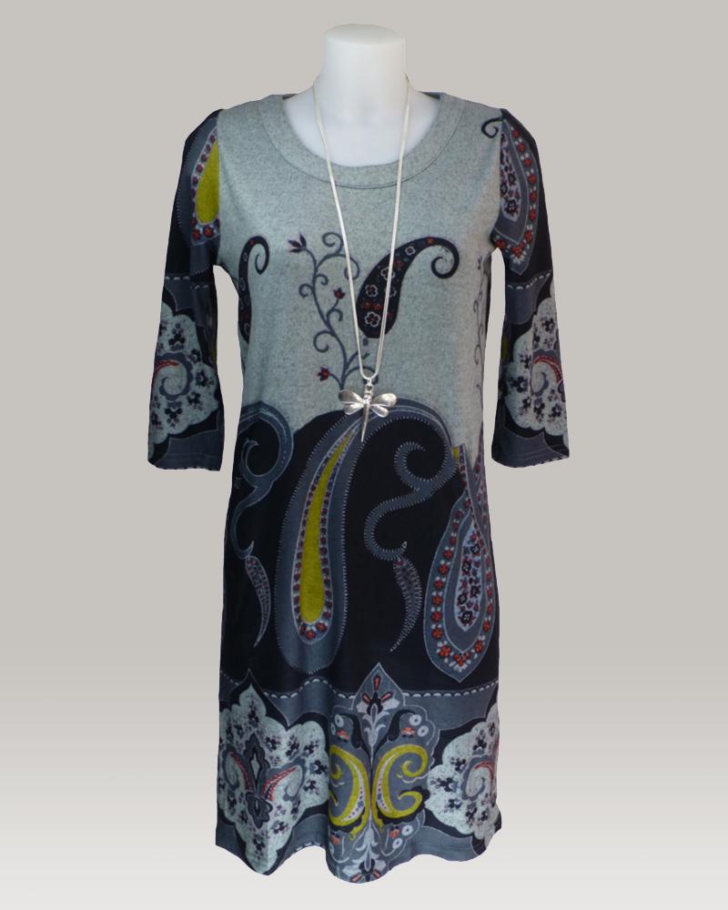 lulu-h paisley print grey tunic