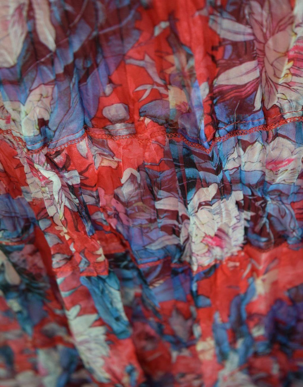 Sensations-pour-elle-Red-Blue-maxi-dress fabric