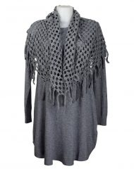 Grey-tunic-with-holey-scarf/snood