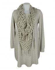 Italian-dress-beig-with-holey-scarf-snood1