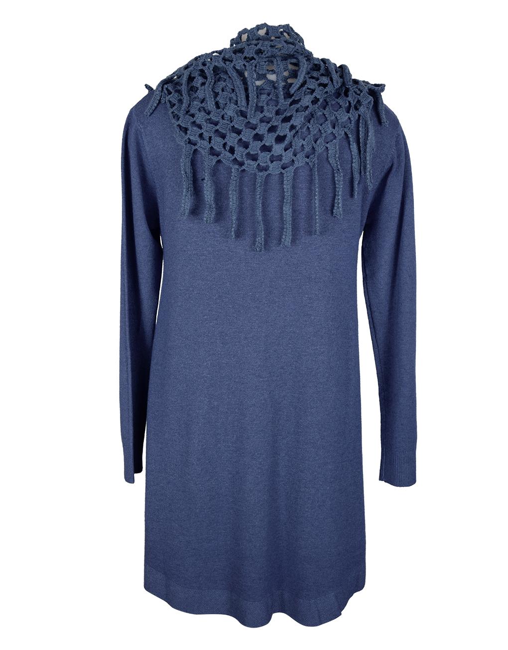 Italian-dress-blue-with-holey-scarf-snood1