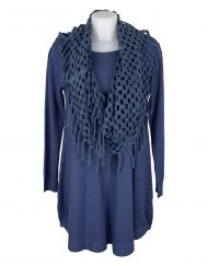 Italian-dress-blue-with-holey-scarf-snood