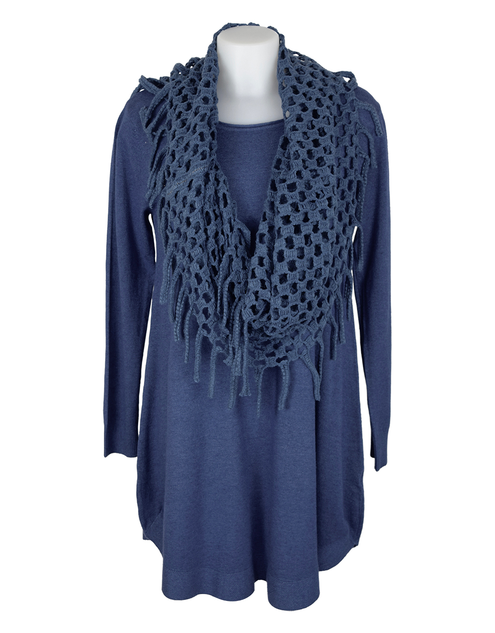 Italian-dress-blue-with-holey-scarf-snood