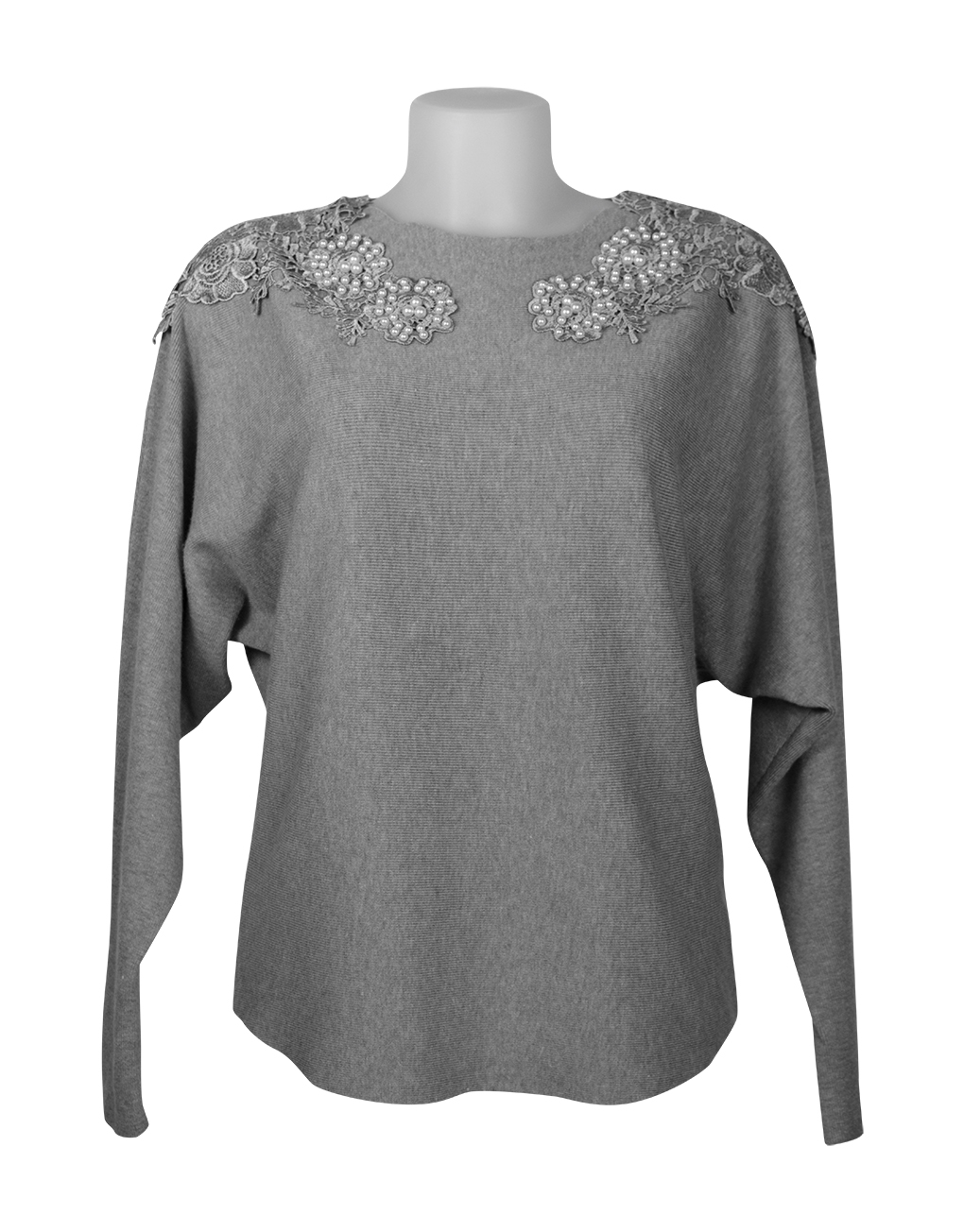 Italian Knitted top grey with beads