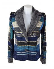 Lulu H Jacket fur collar blue1