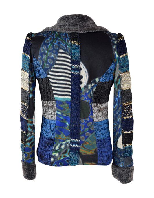Lulu H Jacket fur collar blue4