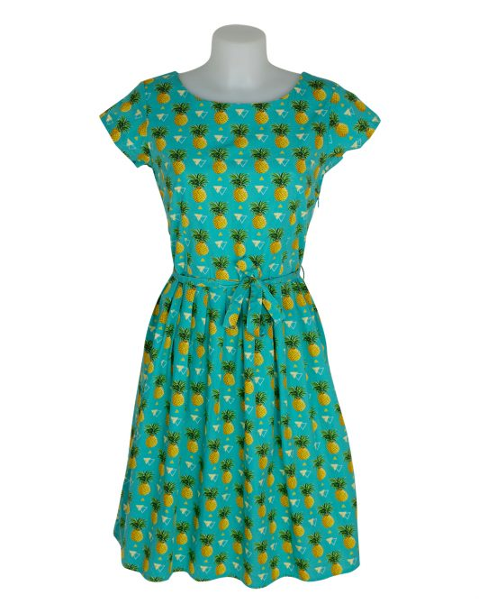 Run&Fly Teal Dress with Repeat Triangle & Pineapple Print
