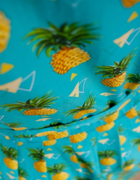 Teal Dress with Repeat Triangle & Pineapple Print 1