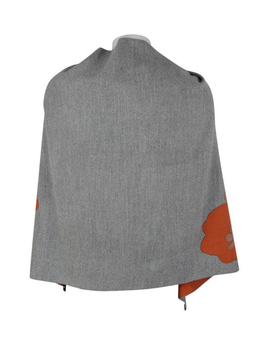 Cashmere Shawl Grey Orange 2