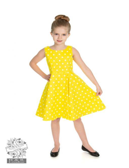 5ae211e6cd H R Children s Cindy Polka Dot Swing Dress in Yellow - Fashion Fix ...
