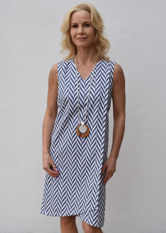 Alice Collins Summer Dress Chevron GreyWhite