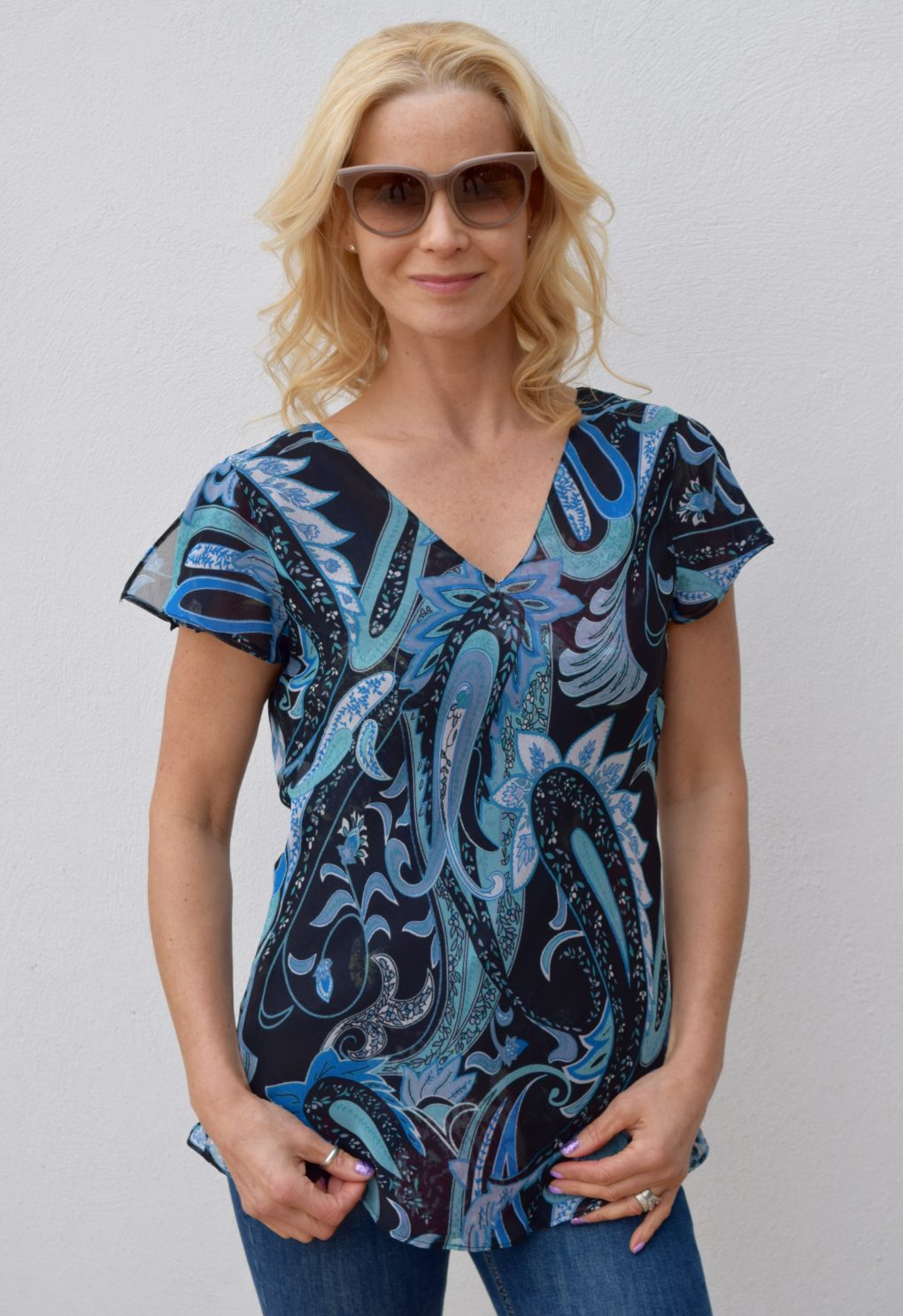 Paramour reversible 2 In 1 Capped Sleeve Top Navy