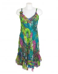 Sensations Pour Elle Green Floral Midi Dress One Size
