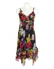 Sensations Pour Elle Black Floral Midi Dress One Size