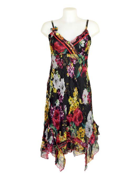 Sensations Pour Elle Black Floral Midi Dress One Size