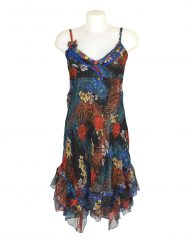 Sensations Pour Elle Black Floral & Feather Midi Dress One Size