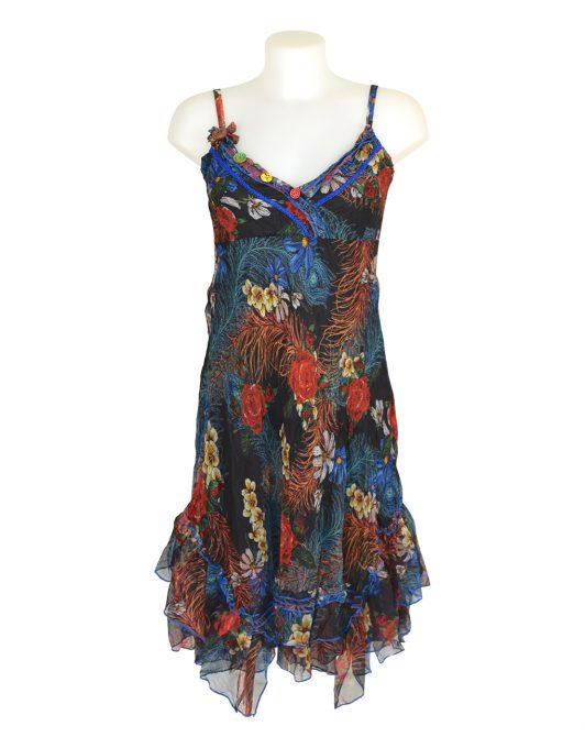 Sensations Pour Elle Black Floral & Feather Midi Dress One Size
