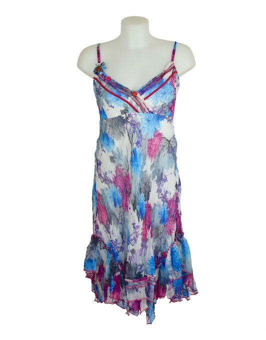 Sensations Pour Elle White & Pink Midi Dress One Size