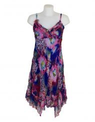 Sensations Pour Elle Blue & Pink Mix Midi Dress One Size