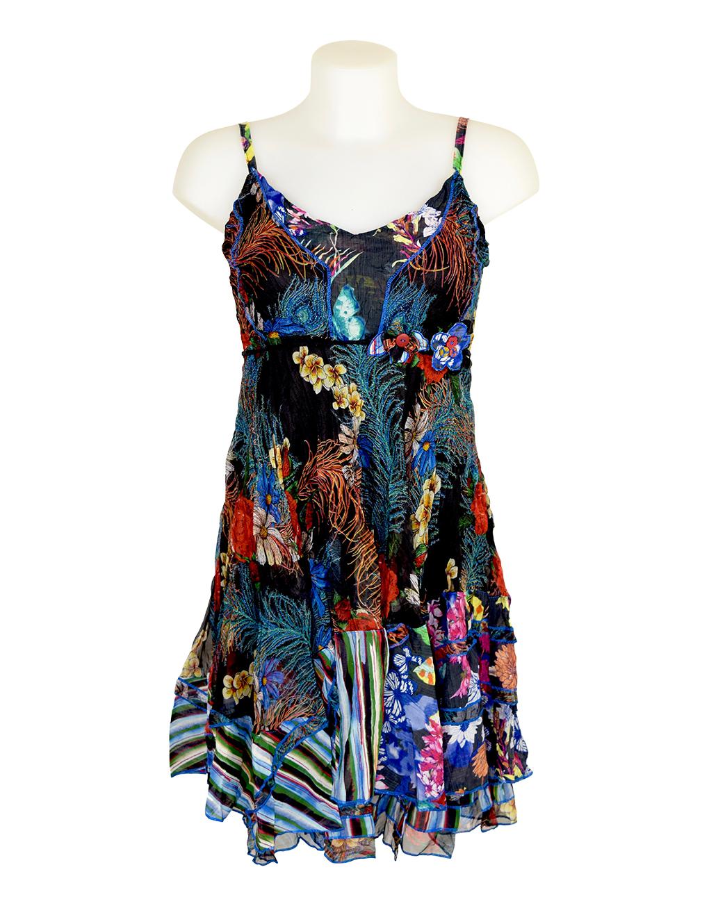 Sensations Pour Elle Black Floral Dress One Size