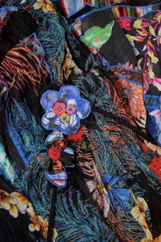 Sensations Pour Elle Black Floral & Feather Dress One Size