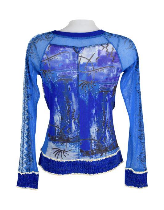 Lulu H Blue & Turquoise Zipped Top