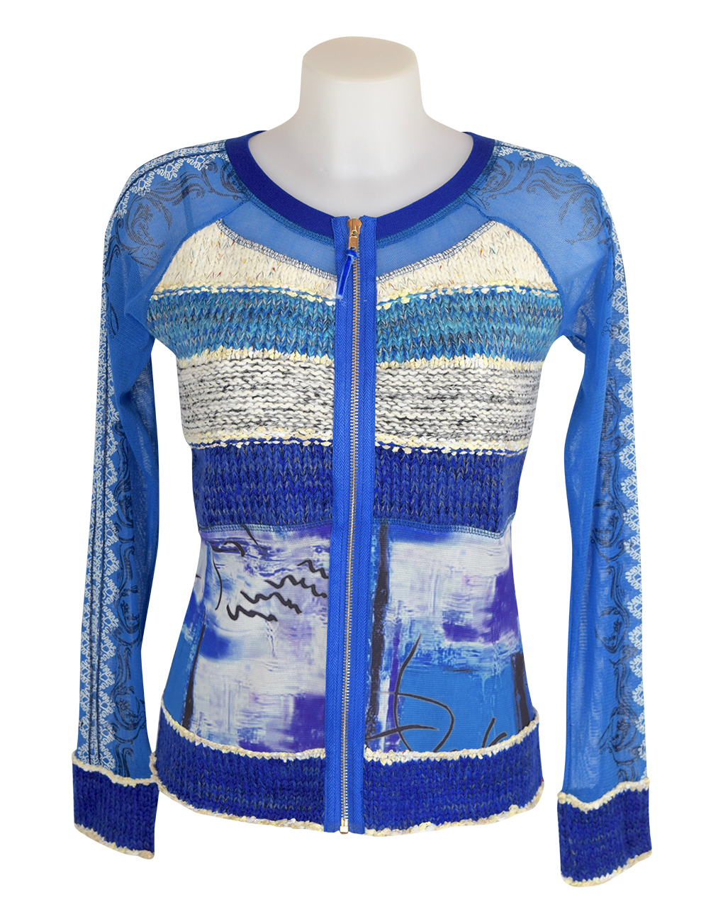 Lulu H Blue & Turquoise Zipped Top1