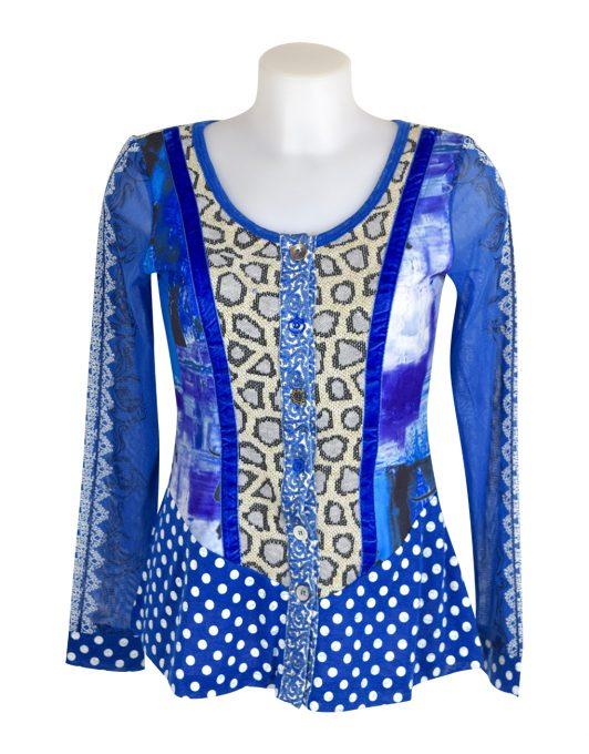 Lulu H Blue Button Top