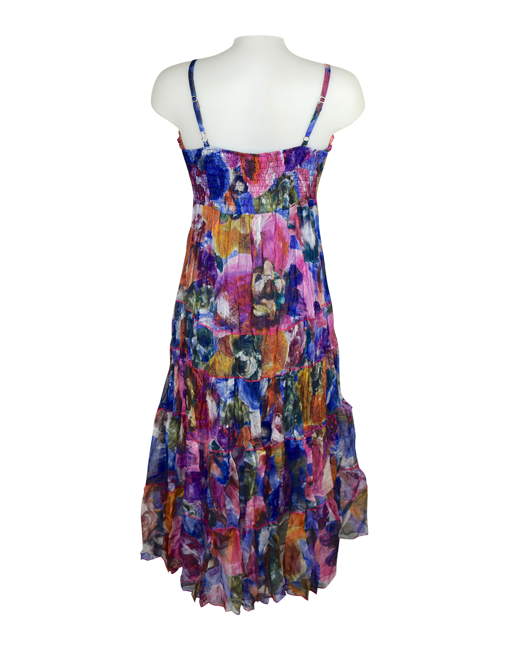 Sensations Pour Elle Blue Mix Abstract Maxi Dress One Size
