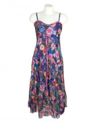 Sensations Pour Elle Blue Mix Floral Maxi Dress One Size