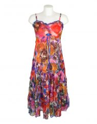 Sensations Pour Elle Red Mix Abstract Maxi Dress One size