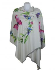 Luxury Stylish Cashmere Mix Ivory Floral Shawl