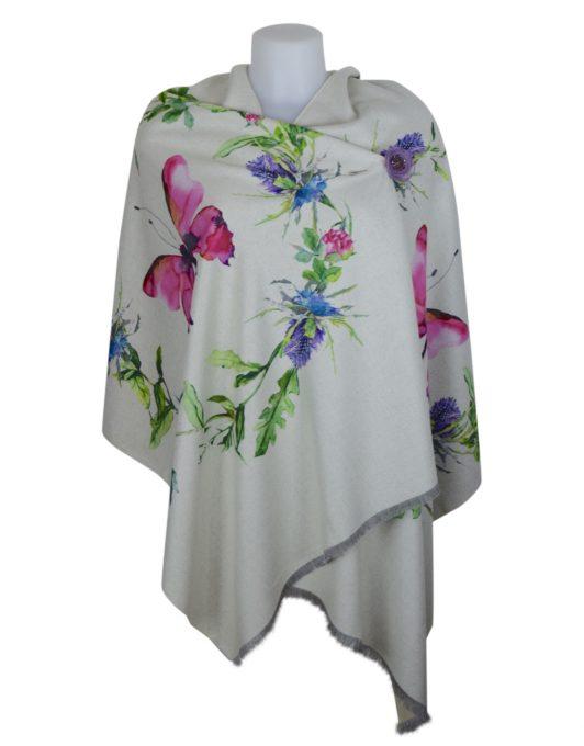 Luxury Stylish Cashmere Mix Ivory Floral Shawl