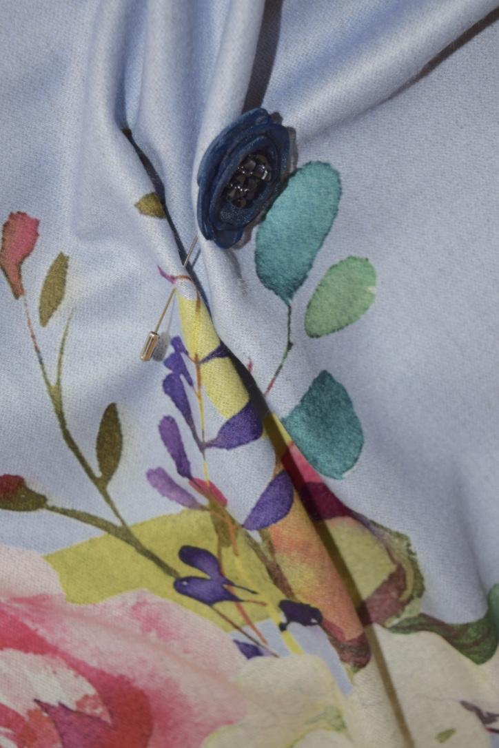 Luxury Stylish Cashmere Mix Blue Floral Shawl