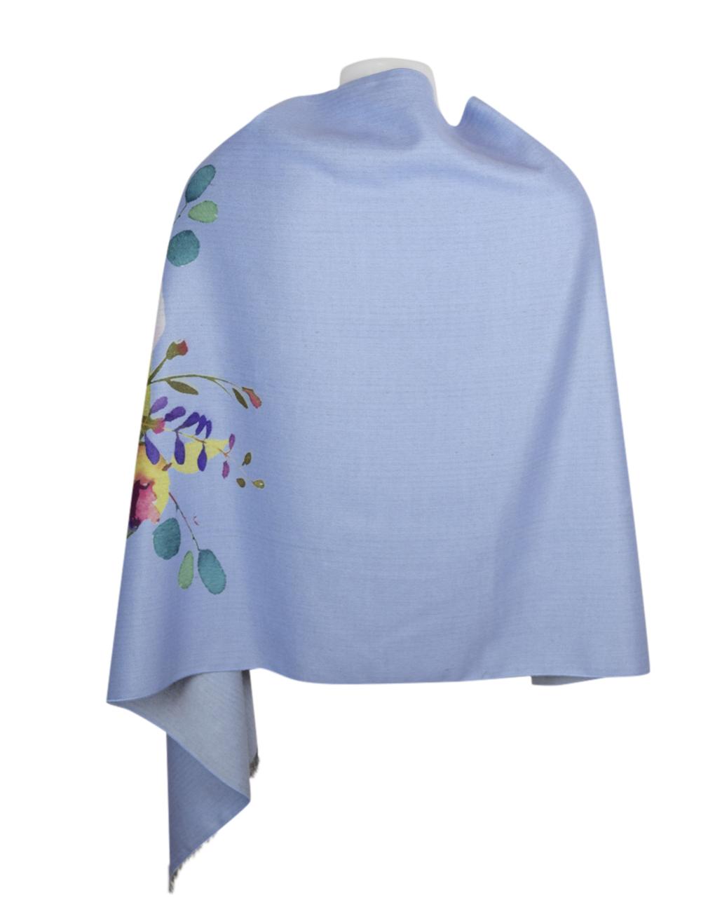 Luxury Stylish Cashmere Mix Blue Floral Shawl2