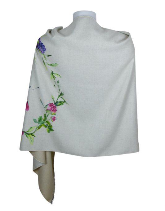 Luxury Stylish Cashmere Mix Ivory Floral Shawl2