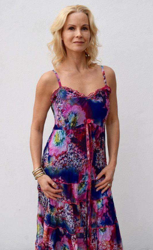 Sensations Pour Elle Blue & Pink Maxi dress One Size