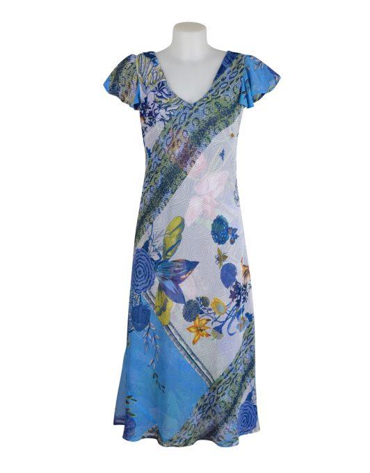 Paramour Reversible Dress Cap Sleeve Blue & White2