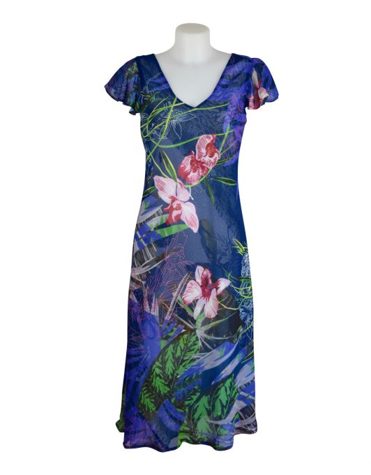 Paramour Reversible Dress Cap Sleeve Blue With Pink Flower1