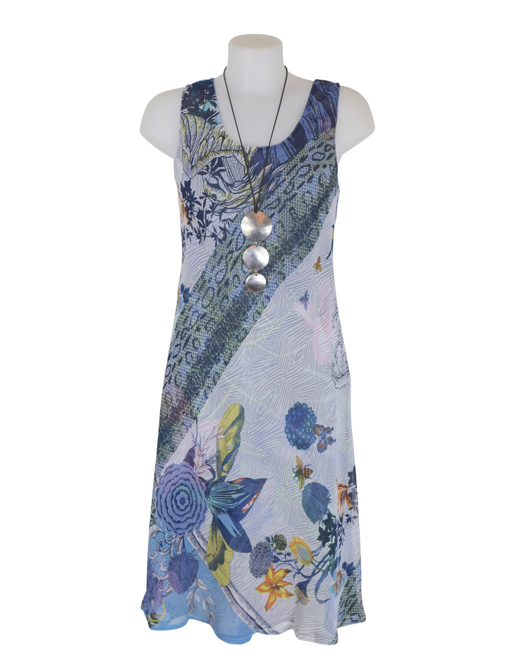 Paramour Reversible 2 In 1 Sleeveless Dress Blue / White B