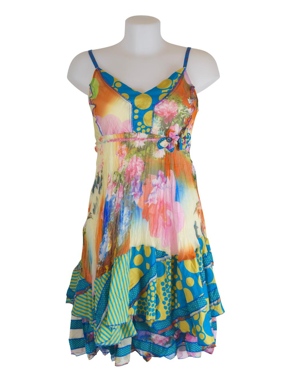 Sensations Pour Elle's Mustard & Turq Dress