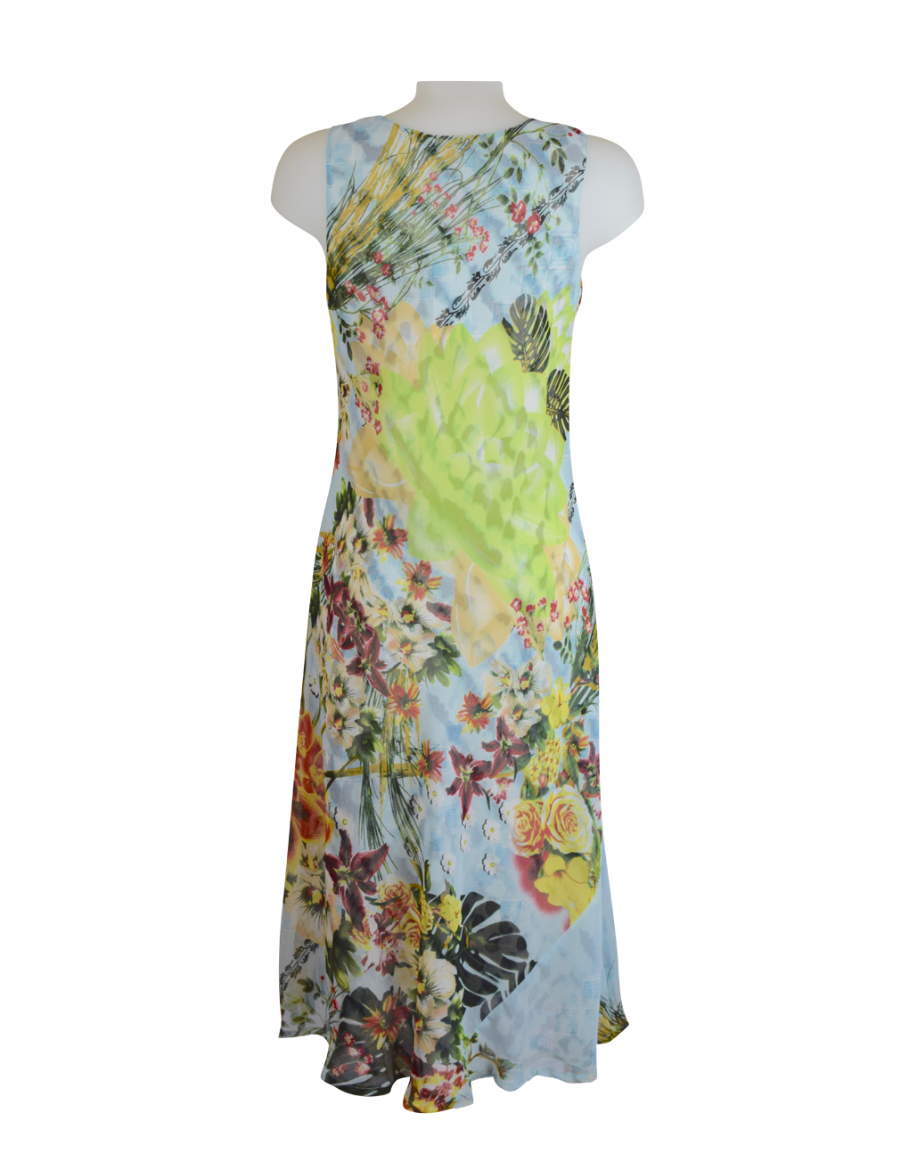Paramour Reversible 2 In 1 Sleeveless Dress Orange Floral / Snake Print C1