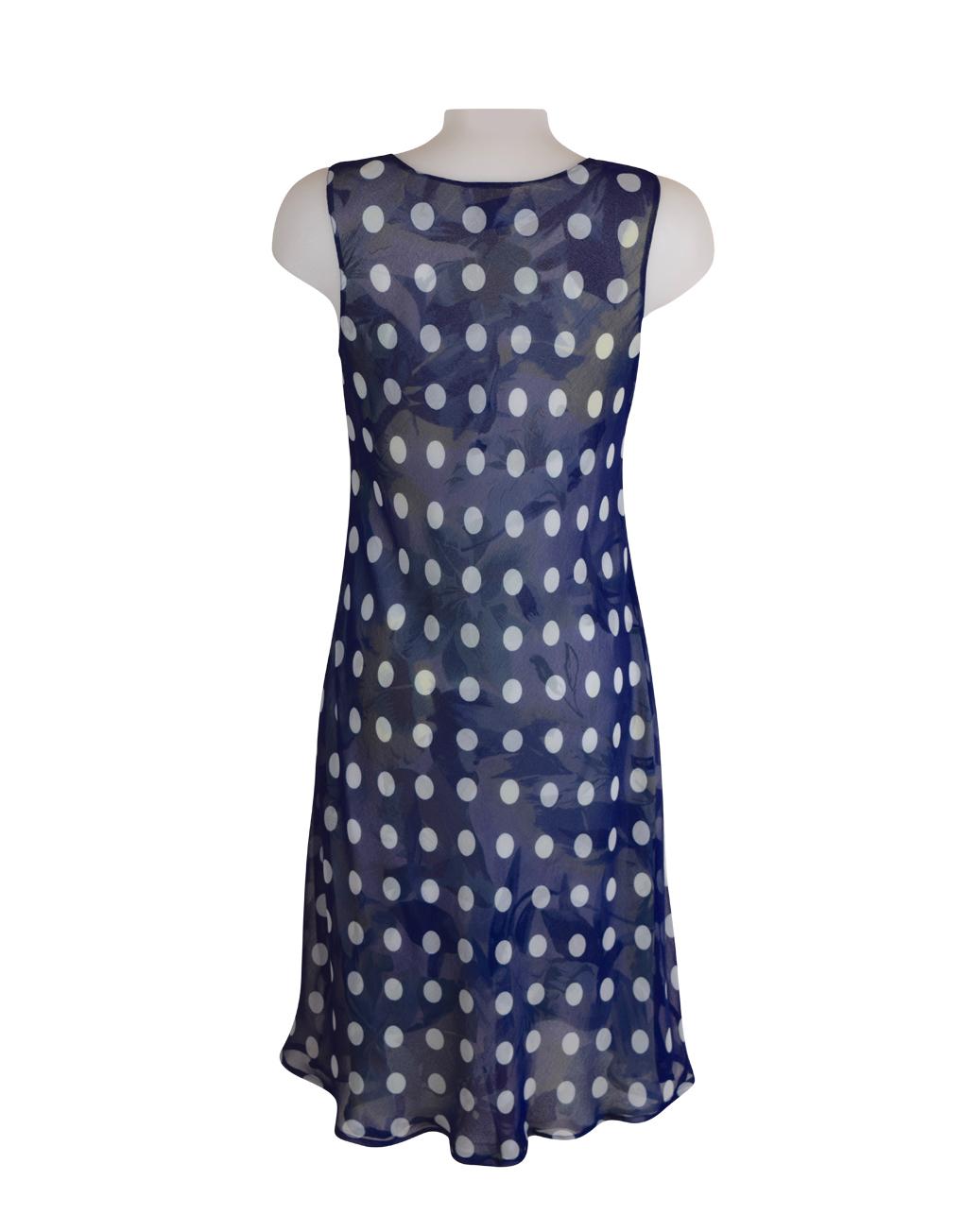 DSC_0783 Paramour Reversible 2 In 1 Sleeveless Dress Navy & White Polka Dot / Floral C
